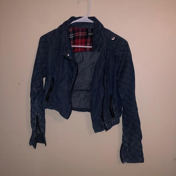 Denim plaid jacket